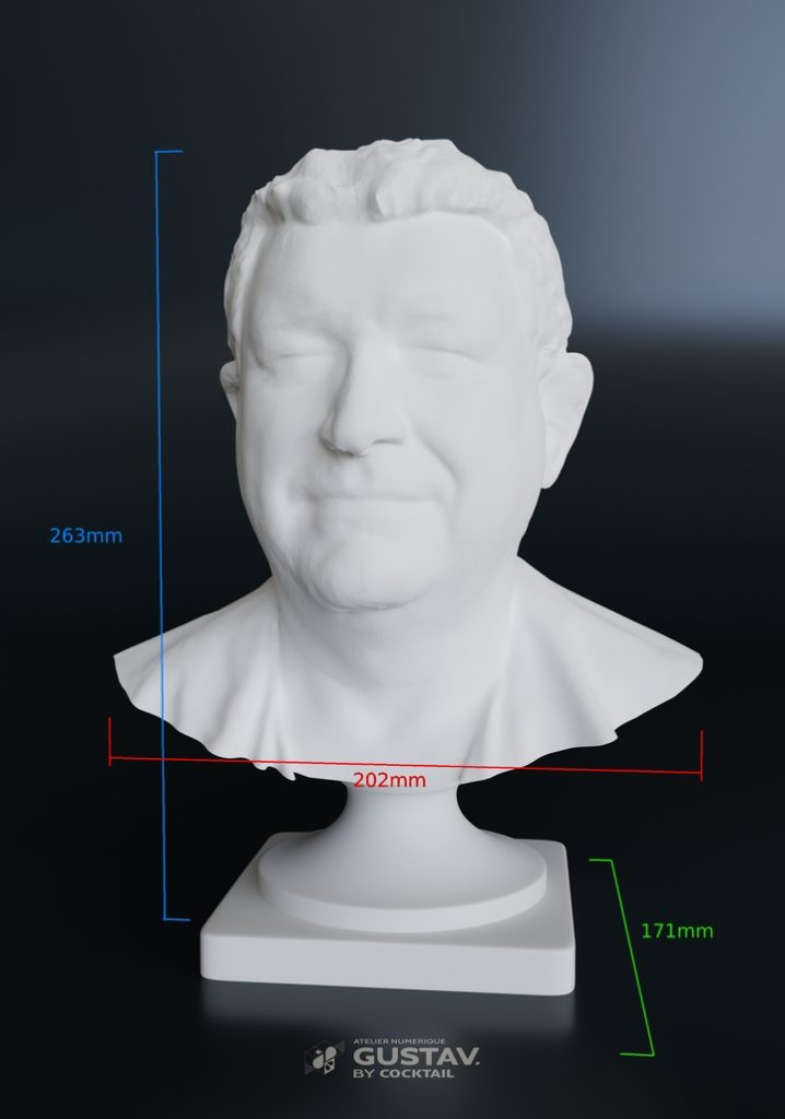 Impression 3D Buste Luc Bouard maire de la Roche-sur-Yon