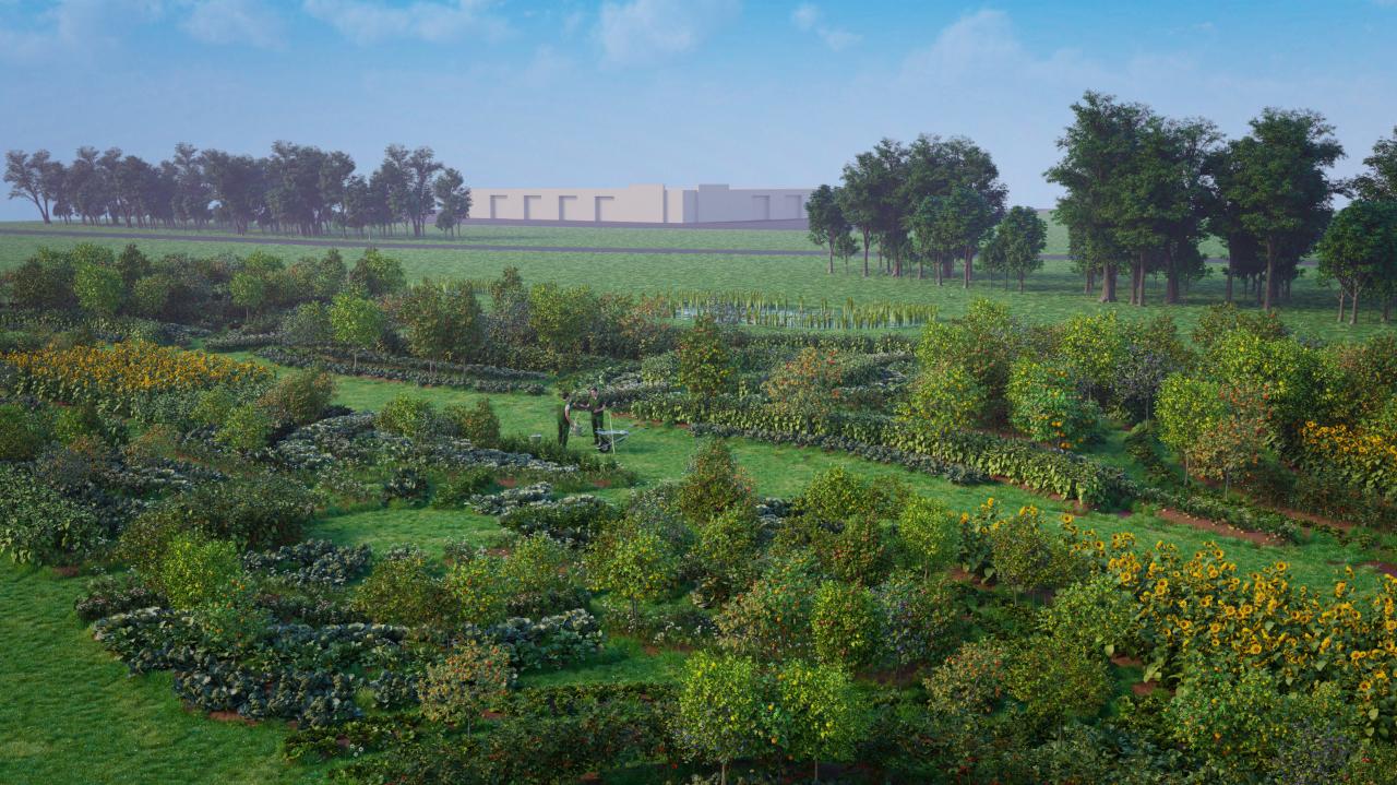 Jardin Agroécologique Infographie 3d